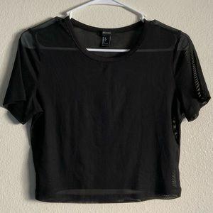 Black see-through mesh top
